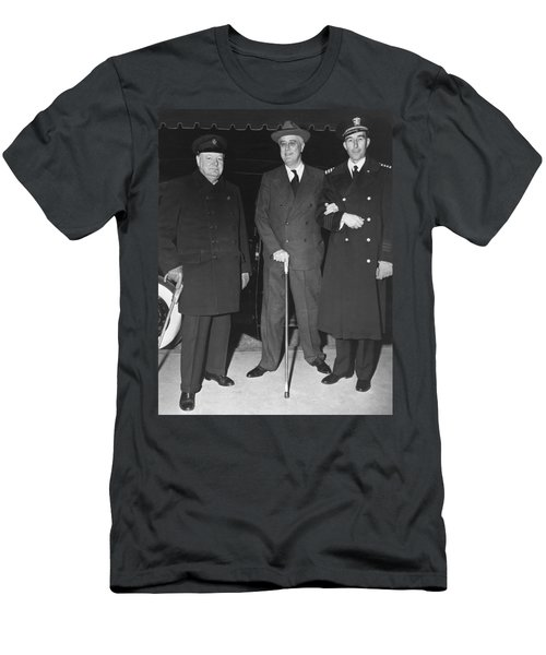 Churchill And Roosevelt Men's T-Shirt (Slim Fit) by Underwood Archives