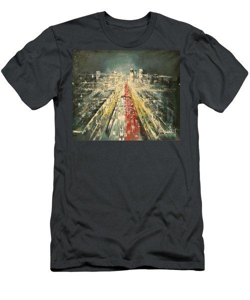 Men's T-Shirt (Slim Fit) featuring the painting City Of Paris by Maja Sokolowska
