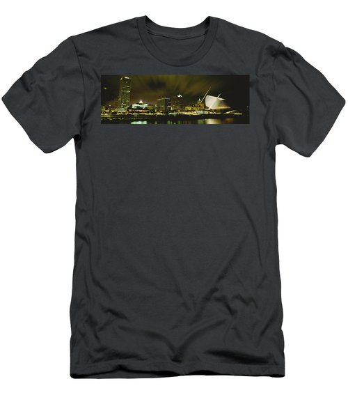 City Skyline With Milwaukee Art Museum Men's T-Shirt (Athletic Fit)
