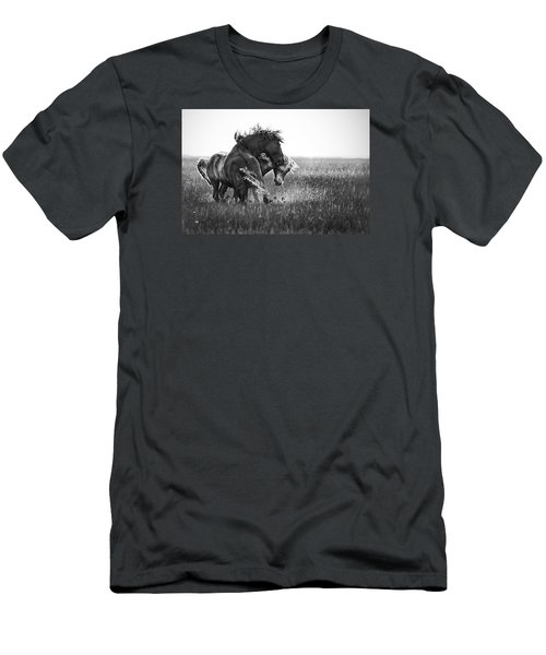 Men's T-Shirt (Slim Fit) featuring the photograph Clash Of Two Wild Stallions by Bob Decker