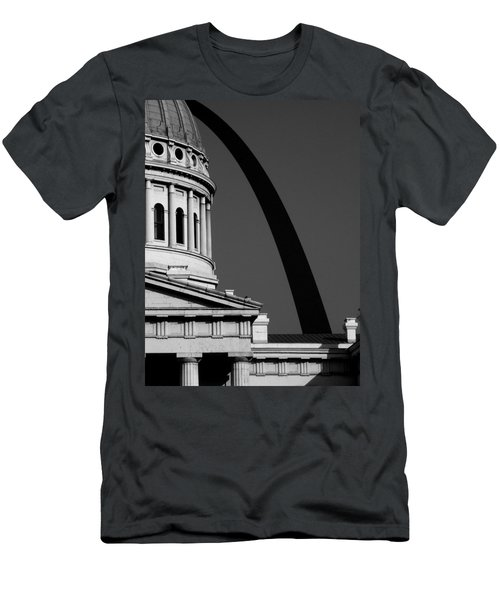 Classical Dome Arch Silhouette Black White Men's T-Shirt (Athletic Fit)