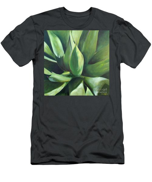 Close Cactus II - Agave Men's T-Shirt (Slim Fit) by Debbie Hart