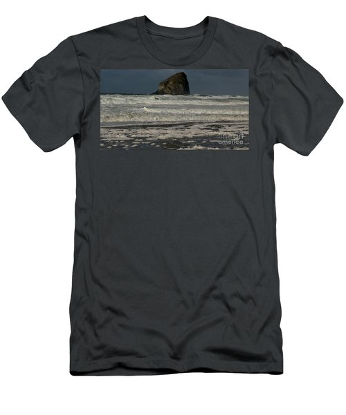 Close Haystack Rock Men's T-Shirt (Slim Fit) by Susan Garren
