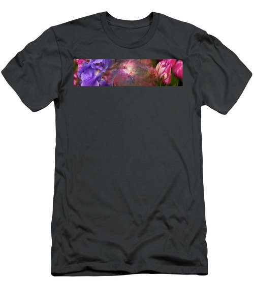 Close-up Of Galaxy With Iris And Tulips Men's T-Shirt (Athletic Fit)