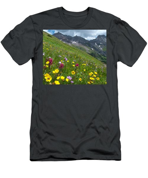 Men's T-Shirt (Athletic Fit) featuring the photograph Colorado Wildflowers And Mountains by Cascade Colors