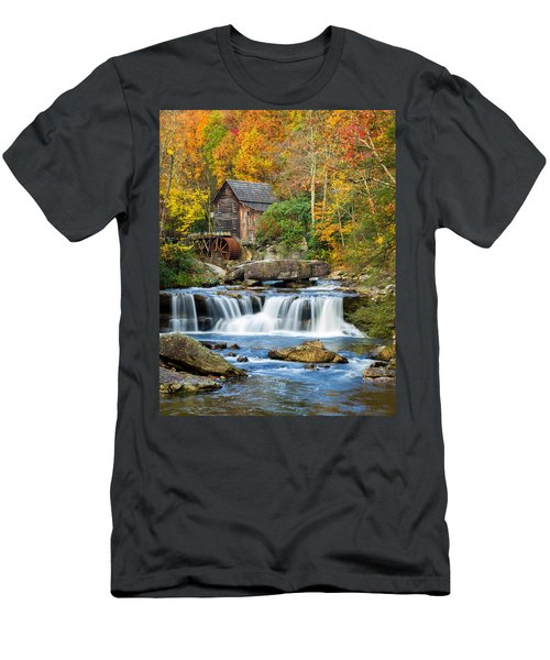 Colorful Autumn Grist Mill Men's T-Shirt (Athletic Fit)