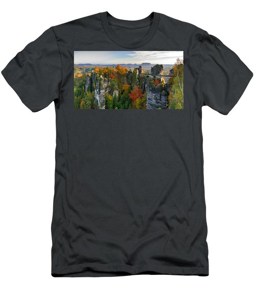 Colorful Bastei Bridge In The Saxon Switzerland Men's T-Shirt (Athletic Fit)