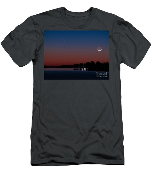 Comet Panstarrs And Crescent Moon Men's T-Shirt (Athletic Fit)