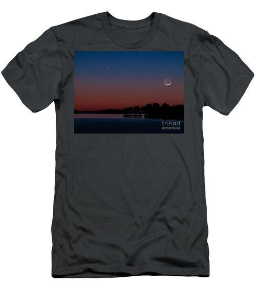Comet Panstarrs And Crescent Moon Men's T-Shirt (Athletic Fit)