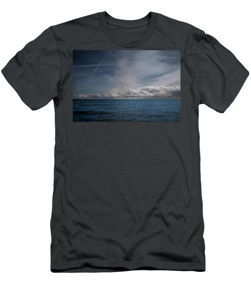 Men's T-Shirt (Athletic Fit) featuring the photograph Contrails And Rainclouds Over Lake Michigan by John M Bailey
