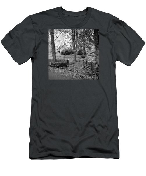 Men's T-Shirt (Slim Fit) featuring the photograph Cottage On Loch Ness - Scotland 1972 - Travel Photography By David Perry Lawrence by David Perry Lawrence