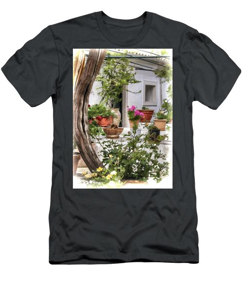 Men's T-Shirt (Athletic Fit) featuring the photograph Painted Effect - Courtyard by Susan Leonard