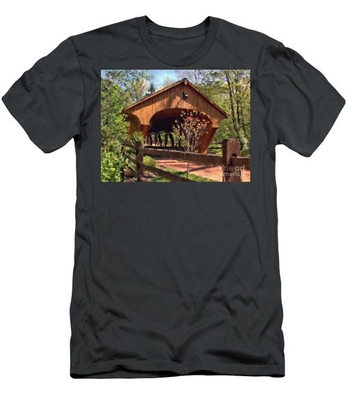 Covered Bridge At Olmsted Falls-spring Men's T-Shirt (Athletic Fit)