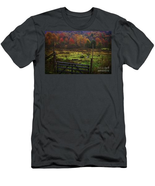 Men's T-Shirt (Slim Fit) featuring the photograph Cow Pasture In Autumn by Debra Fedchin