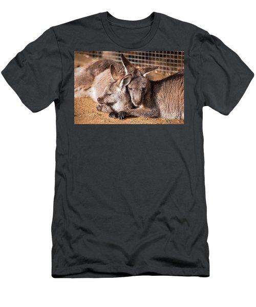 Cuddling Kangaroos Men's T-Shirt (Athletic Fit)