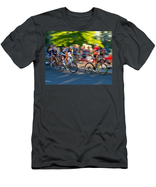 Men's T-Shirt (Slim Fit) featuring the photograph Cycling Pursuit by Kevin Desrosiers