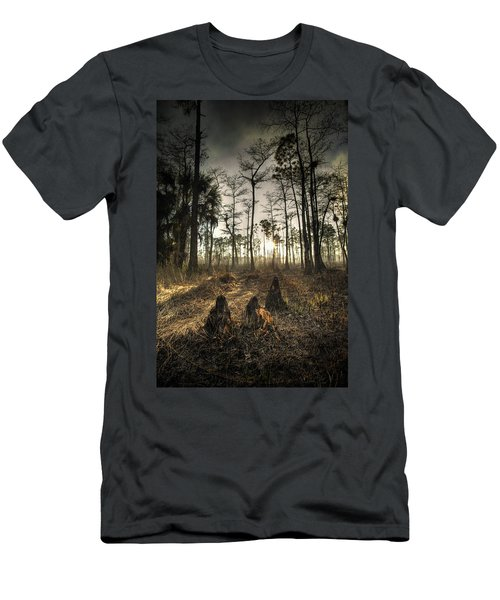 Cypress Stumps And Sunset Fire Men's T-Shirt (Athletic Fit)