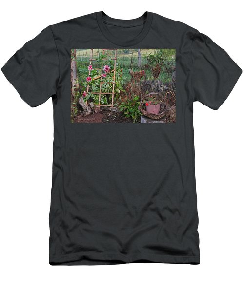 Dahlias And Chickens Men's T-Shirt (Slim Fit)