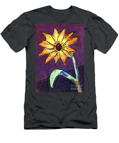 Daisy On Dark Background Men's T-Shirt (Athletic Fit)