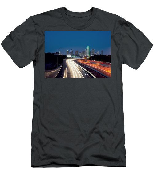 Dallas Night Skyline Light Trails Men's T-Shirt (Athletic Fit)