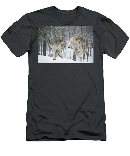 Men's T-Shirt (Slim Fit) featuring the photograph Dances With Wolves by Wolves Only