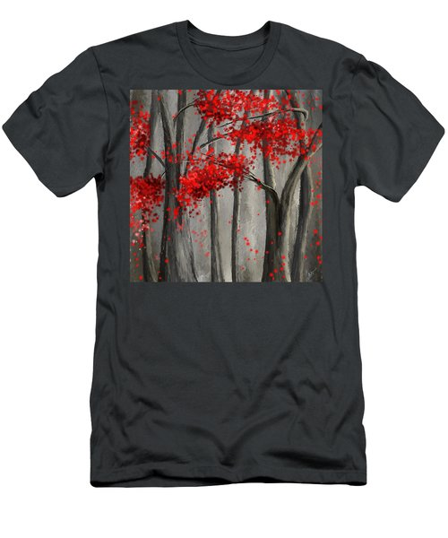 Dark Passion- Red And Gray Art Men's T-Shirt (Athletic Fit)