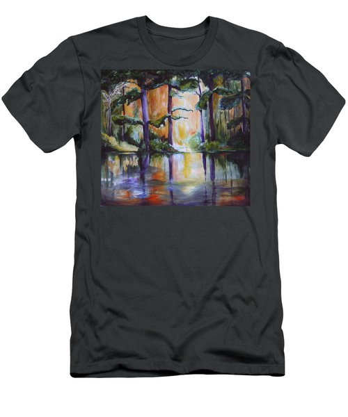 Men's T-Shirt (Slim Fit) featuring the painting Dark Woods by Nadine Dennis