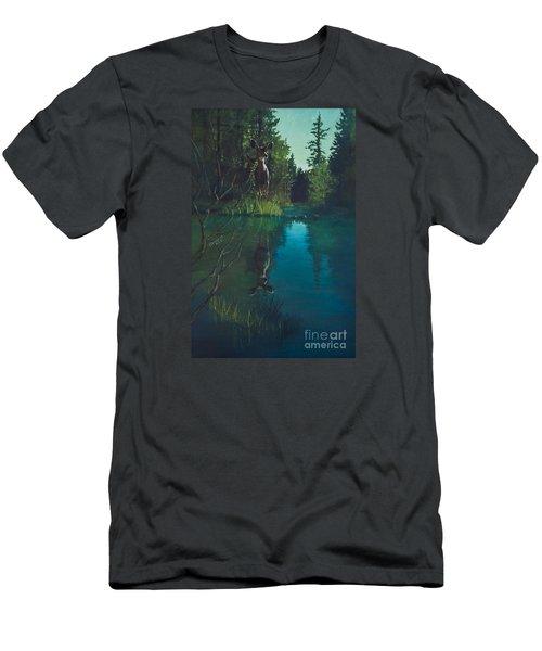 Deer Crossing Men's T-Shirt (Slim Fit) by Rob Corsetti