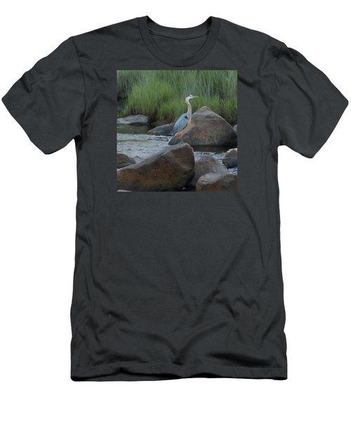 Definitely Blue Heron Men's T-Shirt (Slim Fit) by Francine Frank