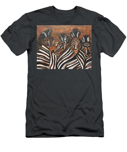 Men's T-Shirt (Slim Fit) featuring the painting Zebra Bar Crowd by Diane Pape