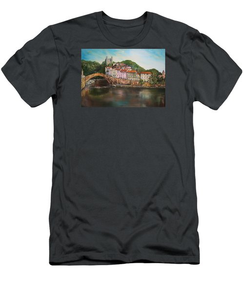 Men's T-Shirt (Slim Fit) featuring the painting Dolceacqua Italy by Jean Walker