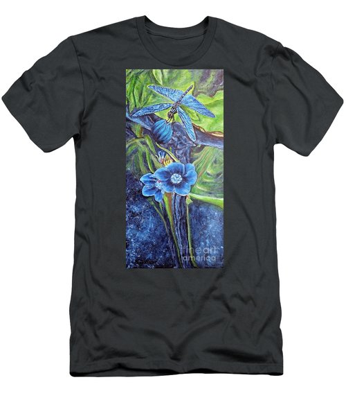 Men's T-Shirt (Slim Fit) featuring the painting Dragonfly Hunt For Food In The Flowerhead by Kimberlee Baxter