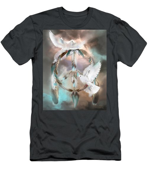 Men's T-Shirt (Athletic Fit) featuring the mixed media Dreams Of Peace by Carol Cavalaris