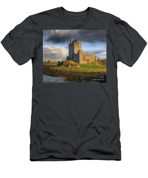 Dunguaire Castle With Dramatic Sky Kinvara Galway Ireland Men's T-Shirt (Slim Fit) by Juli Scalzi