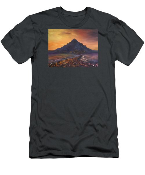 Men's T-Shirt (Slim Fit) featuring the painting Dusk Over St Michaels Mount Cornwall by Jean Walker