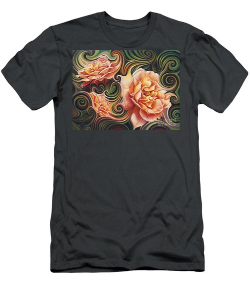 Dynamic Floral V  Roses Men's T-Shirt (Athletic Fit)