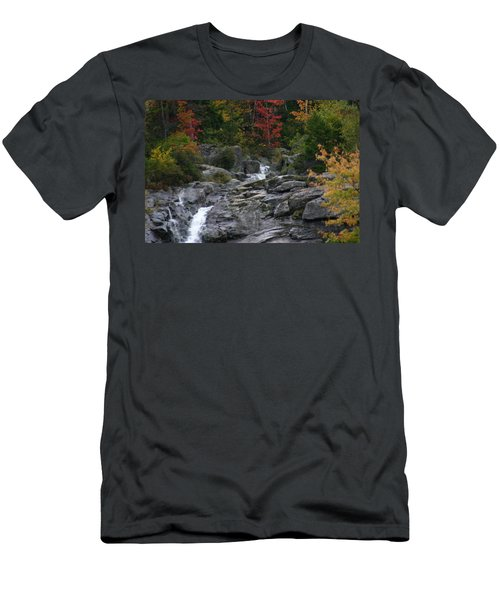 Men's T-Shirt (Slim Fit) featuring the photograph Early Fall Waterfall by Denyse Duhaime