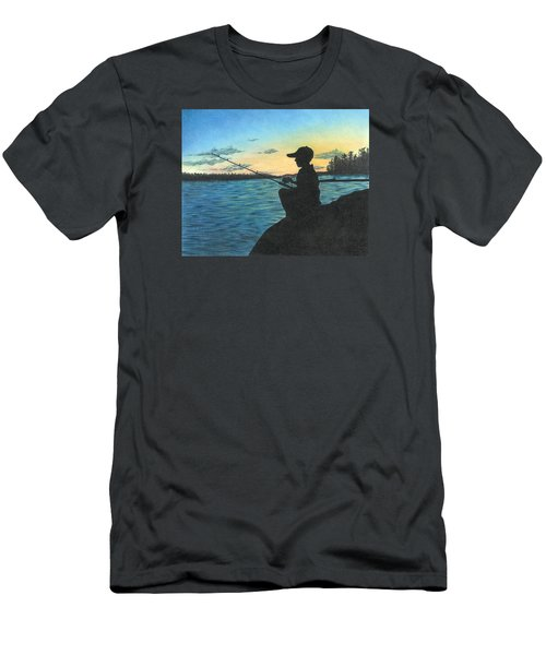 Men's T-Shirt (Slim Fit) featuring the drawing East Pond by Troy Levesque