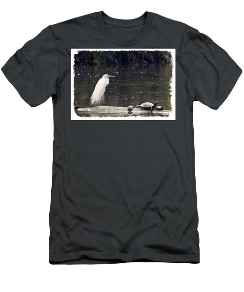 Egret And Turtles Men's T-Shirt (Athletic Fit)