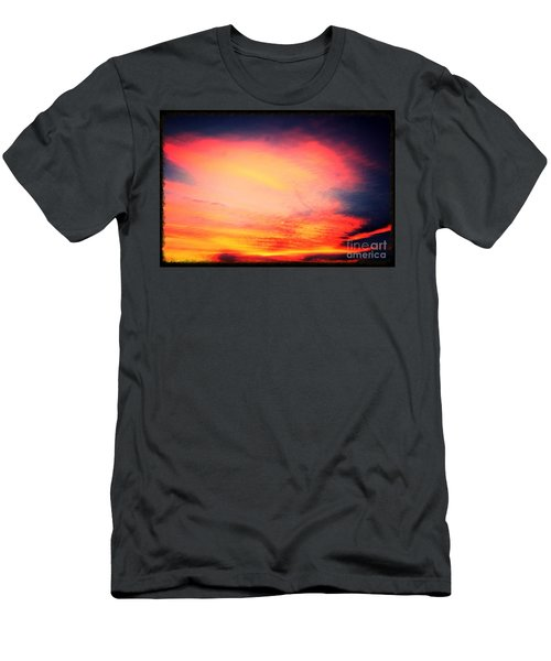 Men's T-Shirt (Slim Fit) featuring the photograph Electric Angel Playing A Harp In The Sky  by Kimberlee Baxter