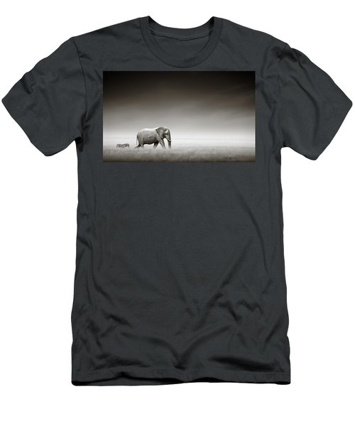 Elephant With Zebra Men's T-Shirt (Athletic Fit)