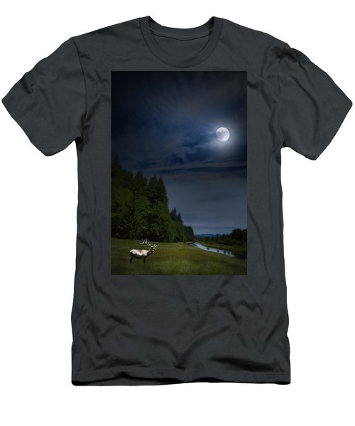 Elk Under A Full Moon Men's T-Shirt (Athletic Fit)