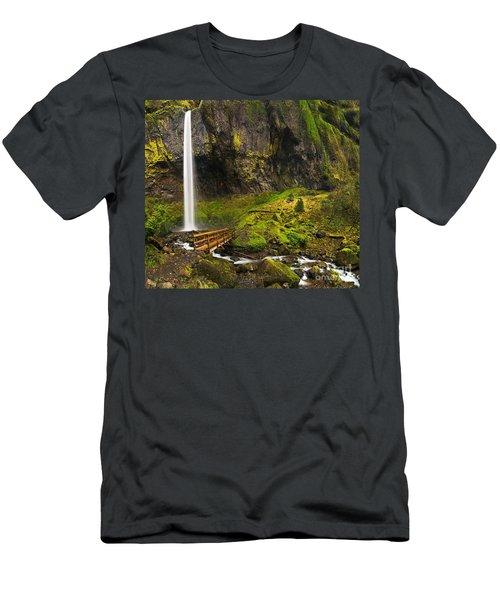 Elowah Falls Panorama -  Columbia River Gorge In Oregon Men's T-Shirt (Athletic Fit)