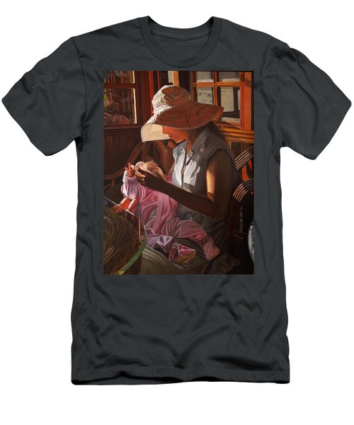 Men's T-Shirt (Slim Fit) featuring the painting Enfamil At Ha Long Bay Vietnam by Thu Nguyen