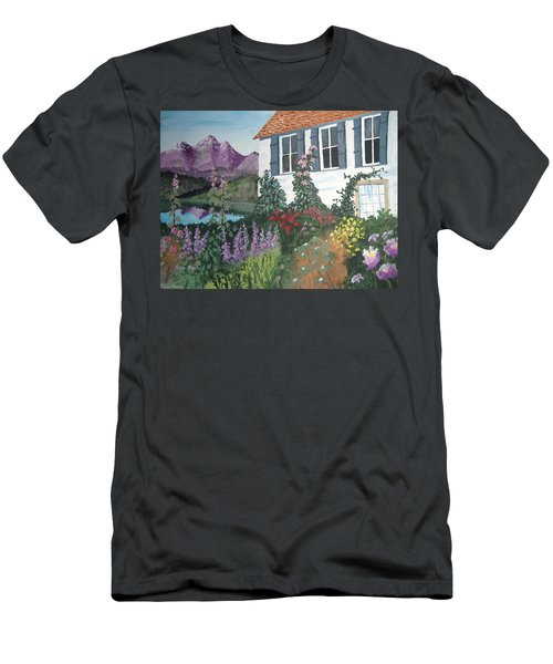 Men's T-Shirt (Slim Fit) featuring the painting European Flower Garden by Norm Starks