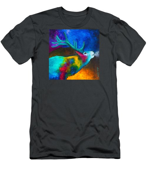 Men's T-Shirt (Athletic Fit) featuring the painting Evening Elk by Dede Koll