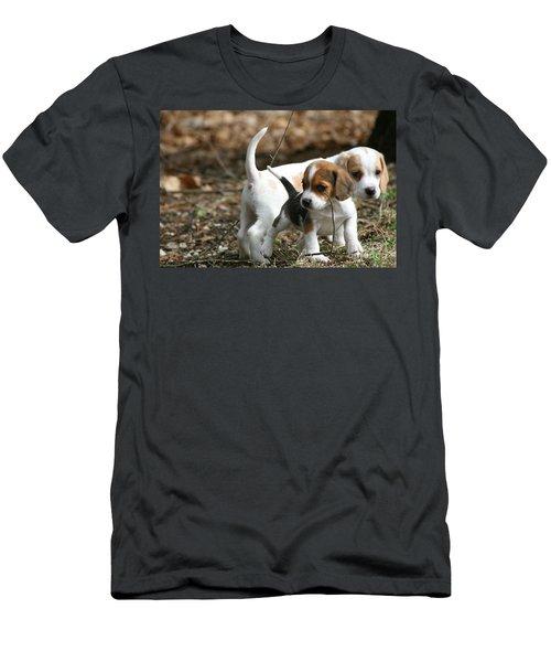 Exploring Beagle Pups Men's T-Shirt (Athletic Fit)