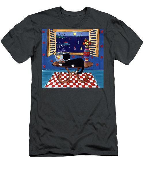 Men's T-Shirt (Slim Fit) featuring the painting Eye On Lunch by Lance Headlee