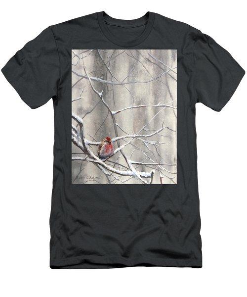 Eyeing The Feeder Alaskan Redpoll In Winter Men's T-Shirt (Slim Fit) by Karen Whitworth