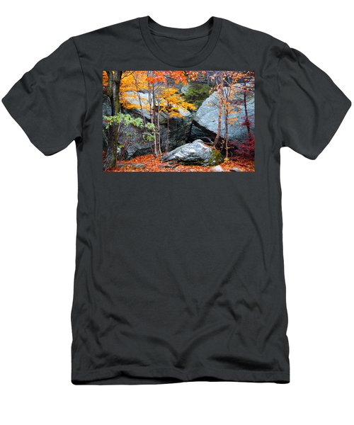 Men's T-Shirt (Slim Fit) featuring the photograph Fall Among The Rocks by Bill Howard